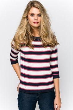 Round Collar Stripe Pullover