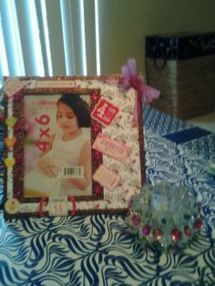 Purposed glass frame for valentines day and lead crystal candle holder with bling