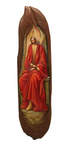 Hand-painted Icon on Wood in Traditional Hand-carved by BYZANTINO