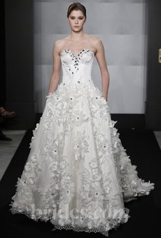 Brides: Mark Zunino for Kleinfeld - 2013. Style MZBF51, strapless satin ball gown wedding dress with a sweetheart neckline, floral details, and beaded accents, Mark Zunino for Kleinfeld