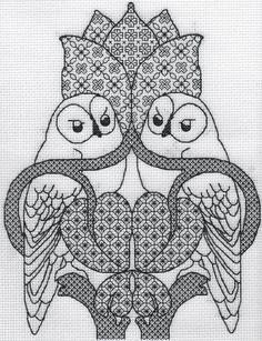 KL154 The Owl Blackwork Needlework Kit by by allaboutcrossstitch