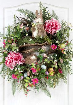 Easter Wreath, Primitive Country Wreath, Front Door  Wreath, Easter Bunnies, Easter Eggs, Berries, Easter Decor -- FREE SHIPPING