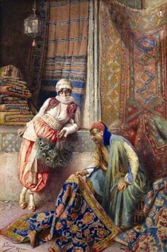 Federico Ballesio (Italian Painter , 1860-1923) – Flirting with the carpet seller