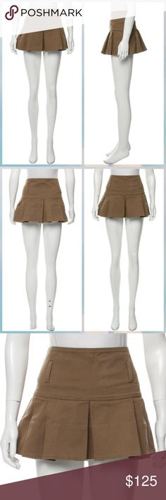 """Burberry Pleated Mini Skirt Olive brown Burberry London mini skirt with tonal stitching throughout, ruffled trim and concealed zip closure at side. Designer size 8. Waist: 33"""" Hip: 38"""" Length: 12""""  Fabric: 98% Cotton, 2% Elastane  US size 6 Burberry Skirts Mini"""