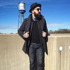 Don't let the cold keep you in, step out in style with layers. Hat: @goorinbros  Glasses: @raen  Coat: @houseofmackage  Beard: @getjackblack  #shoprevolution #shopclt