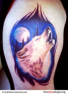 Howling wolf tattoo and moon *not for me, but absolutely beautiful!!*