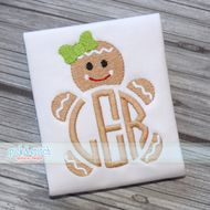 Monogram Gingerbread Girl Mini Embroidery Design