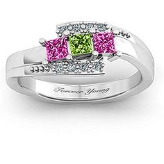 Mother's ring with 3 diamonds  representing three daughters with accent stones my birthstone