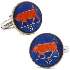 Ox and Bull Trading Co. Hand Painted Irish Bull Coin Cufflinks.
