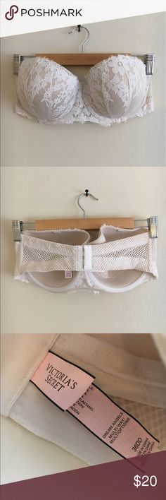 VS Strapless White Floral Lace Balconette Bra Beautiful strapless floral lace bra. Balconette style. Mesh sides and hook closure. Underwire with padding. Missing one strap, can use the other strap for a halter option. Only wore once for my wedding! Victoria's Secret Intimates & Sleepwear Bras