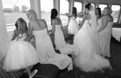 Bridal party look out before ceremony while cruising into Tampa Bay!