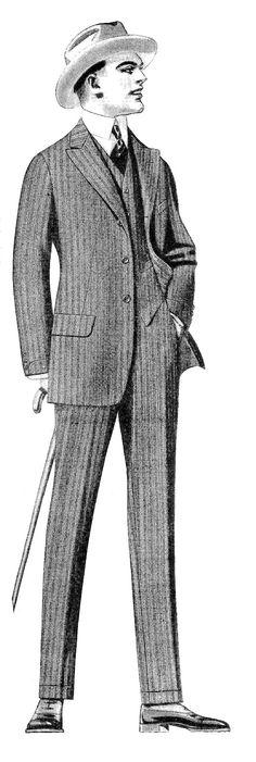 Antique Images: Vintage Men's Fashion Clip Art: 2 Vintage Men's Suits from 1915 Clothes Catalog