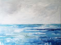 """""""Tide"""" 30x40 original painting , by Megan Elizabeth @artbymegan, artist and mother. Stunning ocean view of blues and grays!"""