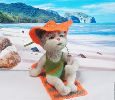 Cat Arish beach Interior felted toy - buy or order in an online shop on Livemaster - CJBRJCOM. Zeya   Kitty Arisha finally waited for the warm days and…