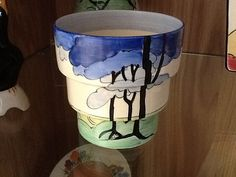 Blue Firs, fern pot, Blue Firs stepped fern pot…, Clarice Cliff pottery in the Online Museum
