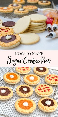 How to Make Sugar Cookie Pies unique cookie recipes thanksgiving themed cookies cookiesthanksgiving desserts cookiedecorating jennycookies Pecan Desserts, Holiday Desserts, Dessert Recipes, Unique Thanksgiving Desserts, Thanksgiving Recipes, Health Desserts, Thanksgiving Tablescapes, Thanksgiving Holiday, Health Foods