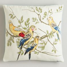 One of my favorite discoveries at WorldMarket.com: Watercolor Birds Throw Pillow