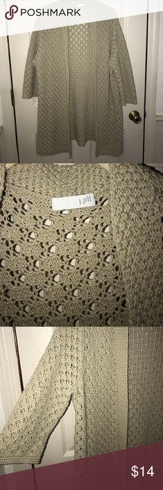 J Jill long crochet 100 cotton crochet sweater 8 Beautiful long JJill 100 cotton long cardigan crochet type sweater size. 8 used good condition J. Jill Sweaters Cardigans