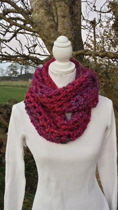 Cowl Scarf Pink Chunky Crochet Double Handmade by LavishHoops Chunky Crochet, Cowl Scarf, Cowls, Scarfs, Trending Outfits, Pink, Handmade, Etsy, Vintage
