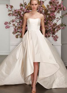 The 9 Biggest Bridal Trends For Spring 2017: High-Low Skirts. LEGENDS Romona Keveza Spring 2017