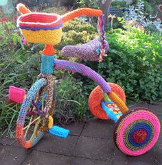 Yarn bombed tricycle