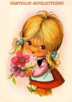 RESERVED for DE. Vintage big eye doll card from the 70's. Cute girl, so happy with her flowers.