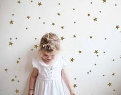 Estrellas de oro confeti palillo en pared arte oro vinilo
