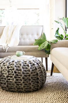 This is a digital download pattern of how to make this gorgeous chunky knit floor pouf. The PDF file also includes complete directions of how to learn to arm knit. The pouf is 24 x 24. This floor pouf looks snatched from your favorite magazine. I have the best news for you: you can have