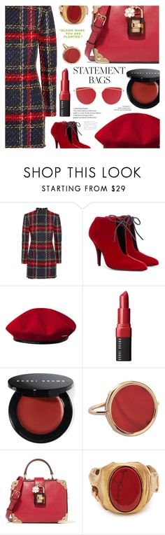 """""""shooting charm"""" by sugaplump ❤ liked on Polyvore featuring Balmain, Tom Ford, kangol, Bobbi Brown Cosmetics, Ginette NY, Dolce&Gabbana, Valentino and statementbags"""