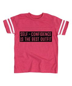 This Hot Pink 'Self-Confidence' Football Tee - Toddler & Girls is perfect! #zulilyfinds