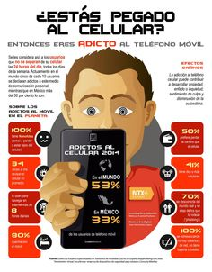 ¿Estás pegado a tu móvil? #infografia the fact I can read this makes the past 5 years of Spanish seem better