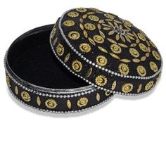 Black Color Round Shape Decorated Jewelry Box