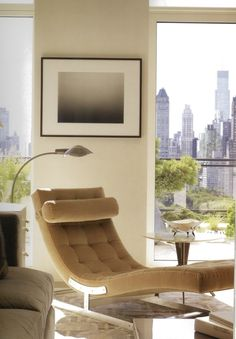 Beautiful Modern Classic Inspired Chaise - Gorgeous Living Room. Love the Cityscape!