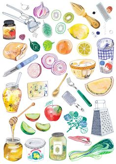 How to cook, dk hennie haworth food illustration иллюстратор Watercolor Food, Watercolor Illustration, Fruit Illustration, Food Sketch, Doodles, Food Drawing, Drawing Drawing, Food Illustrations, Food Coloring