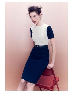 J.Crew seamed crepe dress in colorblock.--- workwear