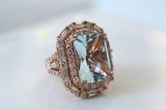 Rose Gold Aquamarine And Diamond Ring Emerald Cut Diamonds, Diamond Shapes, Traditional Engagement Rings, Right Hand Rings, Color Ring, Baguette Diamond, Something Blue, Bling Bling, Rose Gold