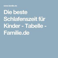 Die beste Schlafenszeit für Kinder - Tabelle - Familie.de