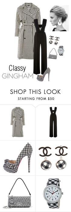 """""""Classy Gingham Fashion"""" by kotnourka ❤ liked on Polyvore featuring Topshop, Sally Lapointe, Christian Louboutin, Chanel, Miu Miu and Timex"""