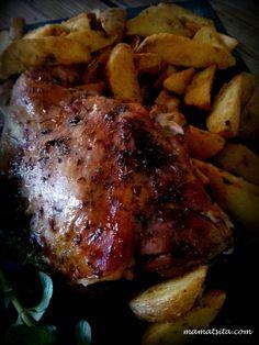 Μυρωδάτο αρνάκι στη λαδόκολλα - mamatsita.com Pork, Chicken, Meat, Kale Stir Fry, Pork Chops, Cubs