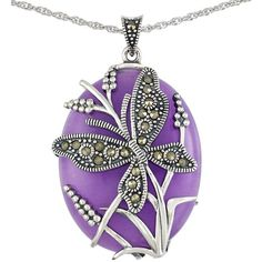Lord & Taylor Lavender Quartz and Sterling Silver Pendant Necklace ($145) ❤ liked on Polyvore featuring jewelry, necklaces, purple, purple pendant necklace, quartz pendant, sterling silver jewelry, quartz necklace and purple pendant