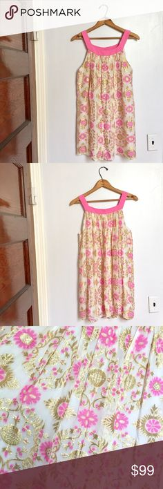 """Milly pink, white & gold mini dress - Size: 6 - Condition: EUC - Color: pink, gold, and white - Pockets: no - Lined: yes - Closure: none - Approx Measurements: bust is 17.5"""" flat, waist is 18.75"""" flat, length is 32.5"""" from shoulder to bottom hem Milly Dresses Mini"""