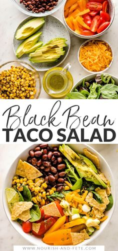Tacos get a healthy upgrade in the form of a Vegetarian Taco Salad with black beans, a rainbow of veggies, crushed tortilla chips, and a mouth-watering fresh cilantro lime salad dressing. Vegetarian Taco Salad, Vegetarian Recipes, Healthy Recipes, Easy Family Meals, Family Recipes, Lime Salad Dressing, Great Salad Recipes, Bean Tacos, Quick Weeknight Meals
