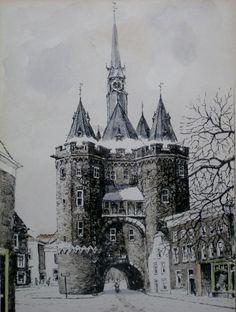 Ingekleurde litho SASSENPOORT ZWOLLE in wintertooi, midden 20e eeuw, kunstschilder Bonefacius (Bob) Brobbel