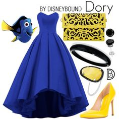 Dory by leslieakay on Polyvore featuring Stuart Weitzman, Alexis Bittar, Christina Debs, Prom, disney, disneybound and disneycharacter