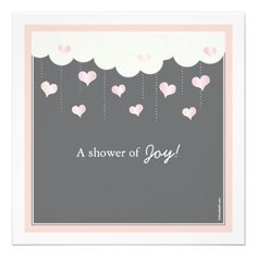 Clouds  Hearts Baby Shower for Girl Invitation.  $2.05