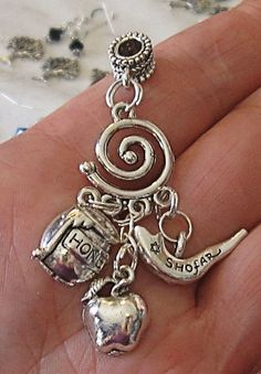 Jewish High Holidays theme silver charm necklace Judaica jewelry