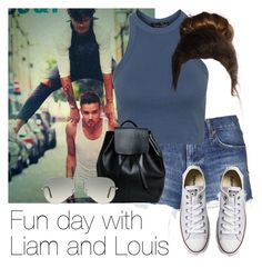 """""""Fun day with Liam and Louis"""" by style-with-one-direction ❤ liked on Polyvore featuring Topshop, Converse, Ray-Ban, women's clothing, women, female, woman, misses, juniors and OneDirection"""