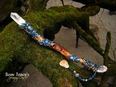 OTHERWORLD FOREST - Magic Crystal Wand with Recordkeeper Quartz Crystal, Labradorite, Blue Chalcedony & Drusy Quartz by Susan Tooker of Spinning Castle.