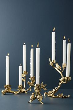 Anthropologie Floral Fauna Taper Holder holiday candle decor gold and white home decor glamorous classy [affiliate] Home Decor Accessories, Decorative Accessories, Anthropologie Home, Scandinavian Interior Design, Luminaire Design, Candle Stand, Candle Holders, Christmas Home, Christmas Decor