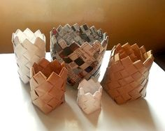 Picture of Recycled Paper Baskets....free instructions!